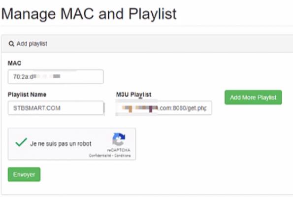 Tapez votre adresse mac que vous avez recopiée sur votre télé. Mettez un nom de votre choix (ça sera le nom de votre playlist). Mettez le lien de votre playlist ( M3U).